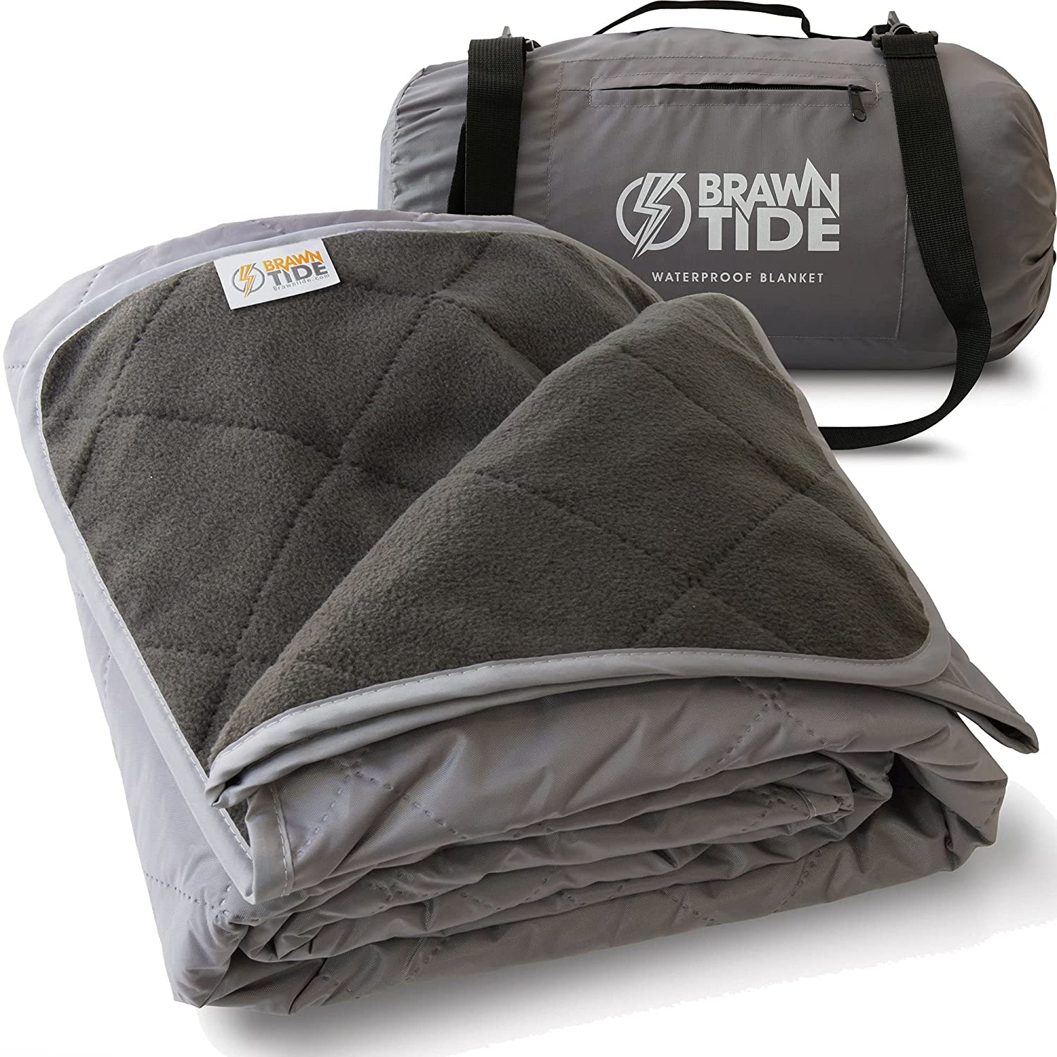 Brawntide Large Outdoor Waterproof Blanket - Quilted, Extra Thick Fleece, Warm, Windproof, Sandproof, Includes Stuff Sack, Shoulder Strap, Ideal Blanket for Beaches, Picnics, Camping, Stadiums, Dogs