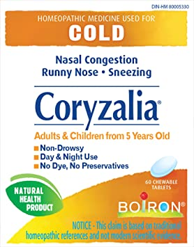 Boiron Coryzalia For Colds And Cold Symptoms 60 Tablets Chewable