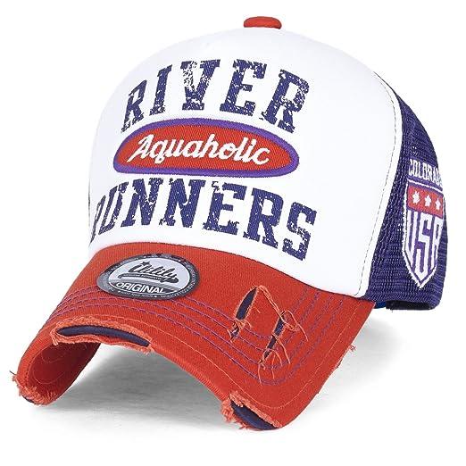 835bc731 ililily River Runners Aquaholic Colorado Vintage Trucker Hat Baseball Cap,  Orange, Medium