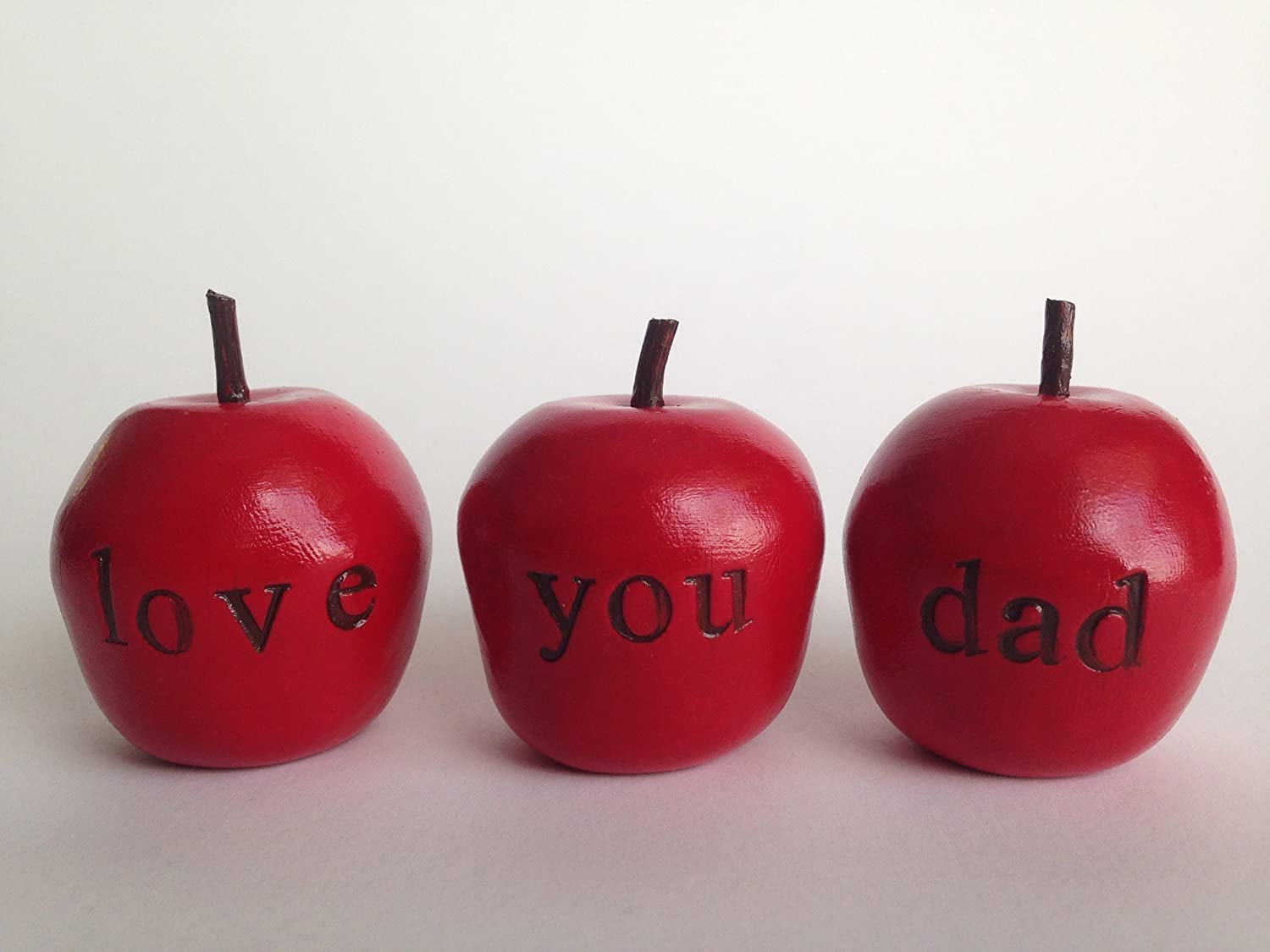"Love you dad Handcrafted and Stamped Polymer Clay expressions decoration apple gift set great gift for Father's Day, Wedding, gift idea from daughter and son. ""Handcrafted in the USA."""