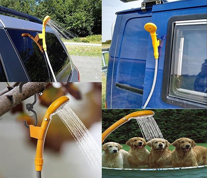LIEBMAYA 12V Alcachofa Ducha Pistola Rociadora Portátil Auto Jardín Perro Ideal para el Camping, el Coche o Lavar al Perro Azul