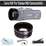Lente gran angular para CANON VIXIA HF R62, HF R60, HF R600, HF R700, HF R72, HF R70 incluye videocámara de alta definición 0,43 x lente gran angular W/Macro + LensPen Kit de limpieza + tapas de objetivos para + más