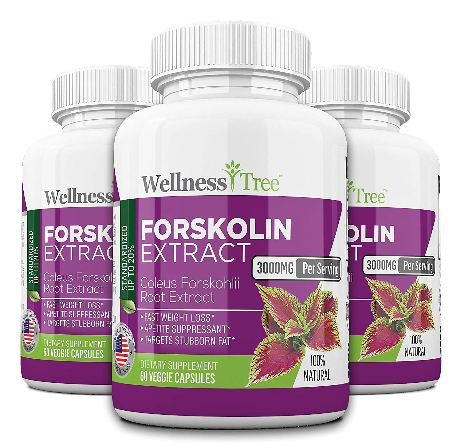 Pure Forskolin 3000mg Max Strength – Forskolin Extract for Weight Loss – Premium Appetite Suppressant, Metabolism Booster, Carb Blocker Fat Burner for Men and Women – 3 Pack