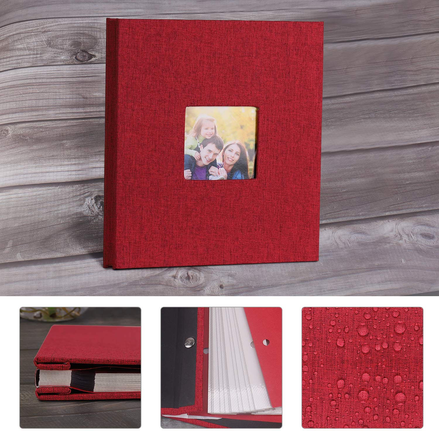 4X6 VACNITE Photo Album Self Adhesive,Scrapbook Album for Wedding//Family Linen Cover DIY Gift Magnetic Photo Book with 40 Sticky Pages Holds 8X10 Blue with Opening Cover 6X8 5X7
