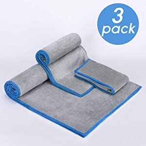 Aegend 3 Sizes Ultra-Soft Microfiber Gym Towels, Premium Gym Towels for Men Microfiber Sports Towels for Women - Super Absorbent Yoga, Fitness Workout Sweat Towel, Odor-Free/Grey