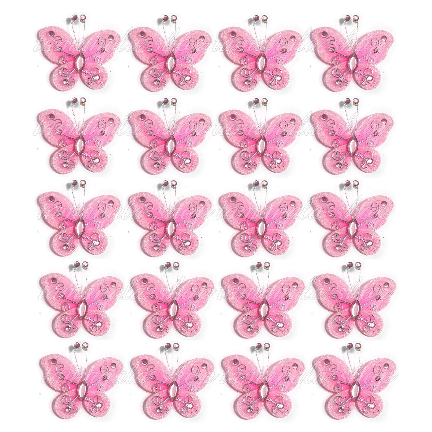40-Pack Organza Butterflies 2 Fabric Butterflies Nylon Glitter Butterfly For Wedding Party Table Scatter Scrapbook Craft Card Decoration Colors Purple