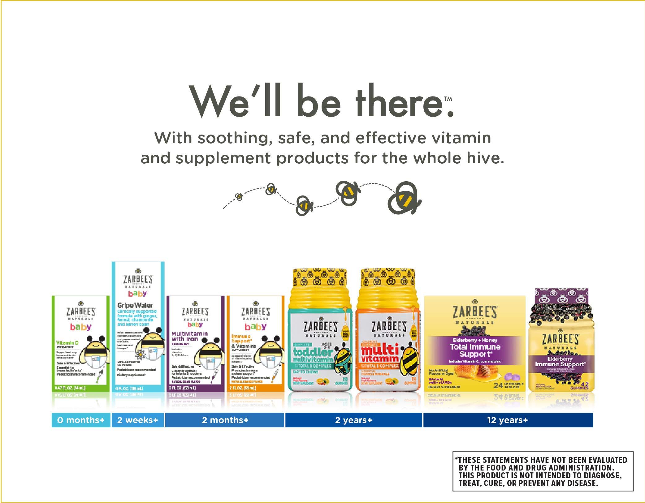 Zarbee's Naturals Children's Elderberry Immune Support* Gummies, With Vitamin C, Zinc & Elderberry, 42 Gummies (1 Bottle)