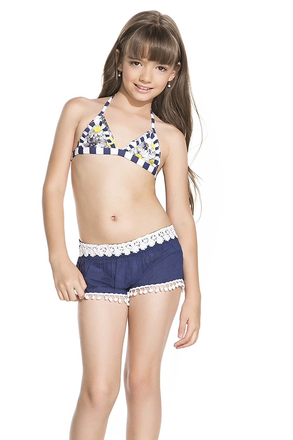 Small Onda de Mar Blue Pom Pom Shorts