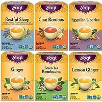 Yogi Tea - Canada Favorites Variety Pack (6 Pack) - Includes Restful Sleep, Green Tea Kombucha, Lemon Ginger, Ginger…