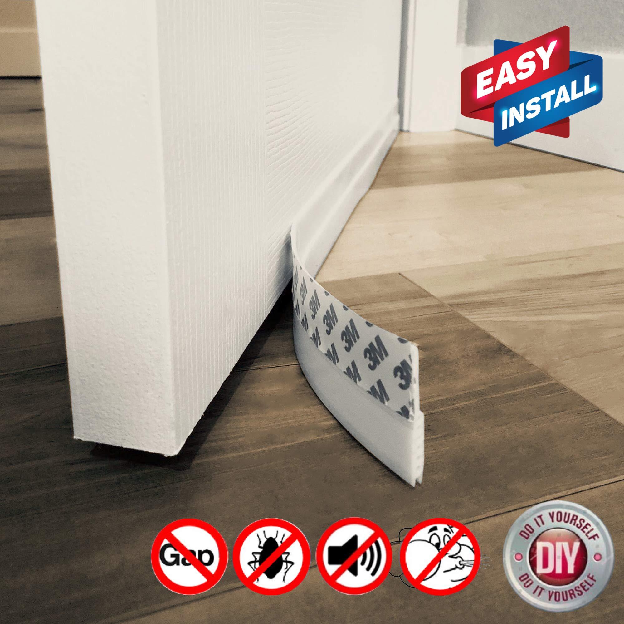 Door Draft Stopper – High Performance Silicone Door Sweep w VHB Adhesive 3M Strip | Draft Blocker for Under Door Seal Gap Interior & Exterior Doors Weather Stripping Soundproof | Draft Guard Insulator