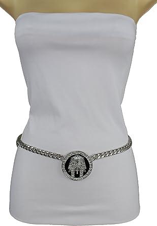 TFJ Women Fashion Skinny Belt Hip High Waist Hip Gold Metal Chain Blue Charm XL XXL