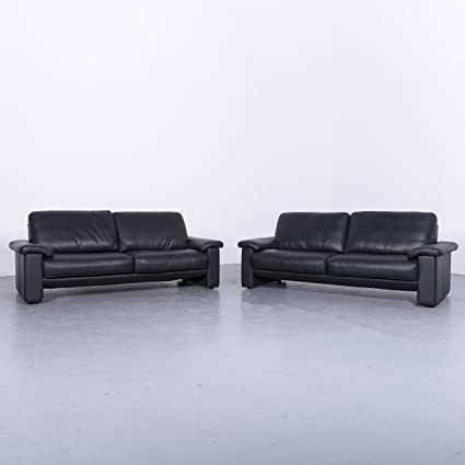 Amazon.com: Ewald Schillig Designer Leder Sofa Garnitur Schwarz ...