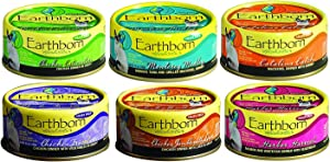 Earthborn Grain-Free 5.5 Oz Canned Cat Food Mixed 24 Cans with 6 Flavors – Chicken Catcciatori, Monterey Medley, Catalina Catch, Chicken Fricatssee, Chicken Jumble with Liver, Harbor Harvest