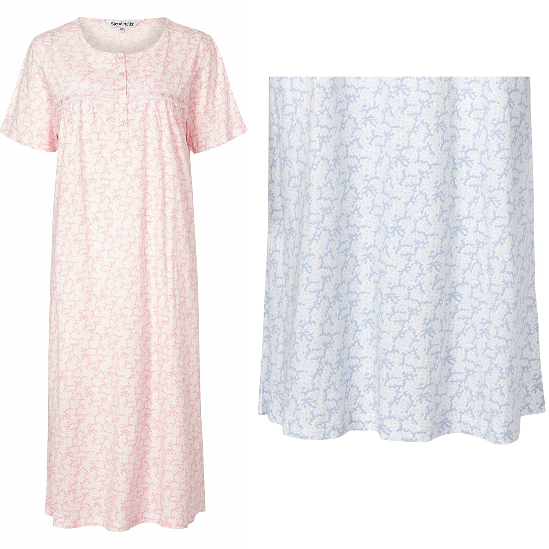Short Sleeve Premium Nightdress Slenderella Womens 100/% Jersey Cotton Nightie