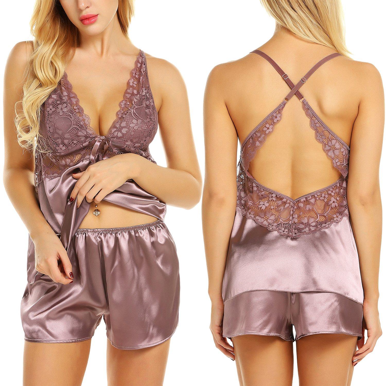 Chomoleza Women Lace Sleepwear Satin Pajama Cami Shorts Set Nightwear