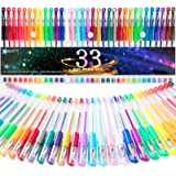 Gel Pens, 33 Color Gel Pen Fine Point Colored Pen Set with 40% More Ink for Adult Coloring Books, Drawing, Doodling…