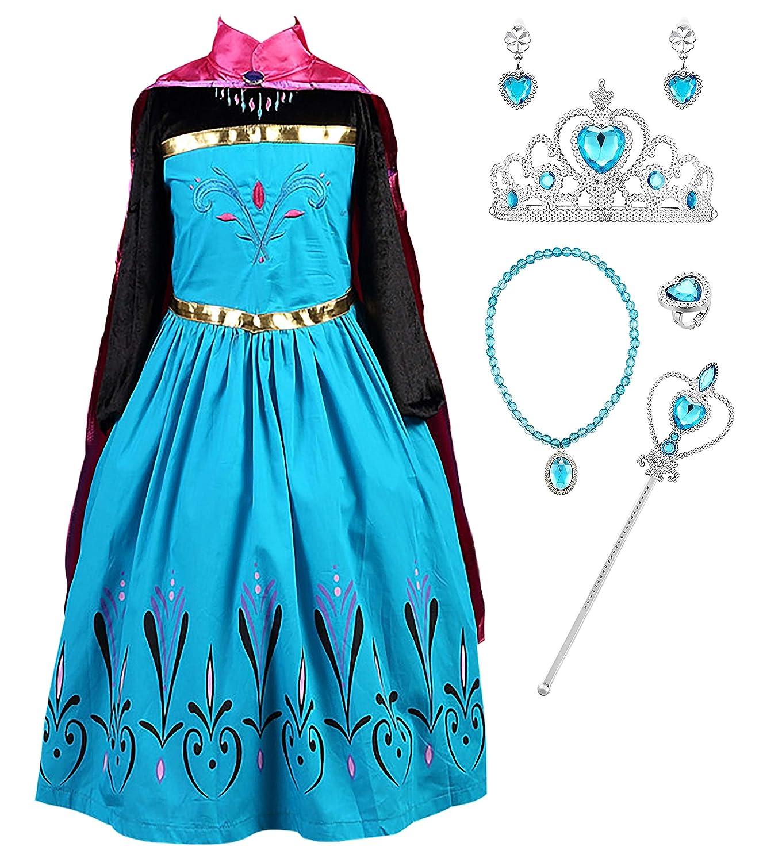 YOSICIL Niña Vestido de Princesa Elsa Azul con Capa Larga ...
