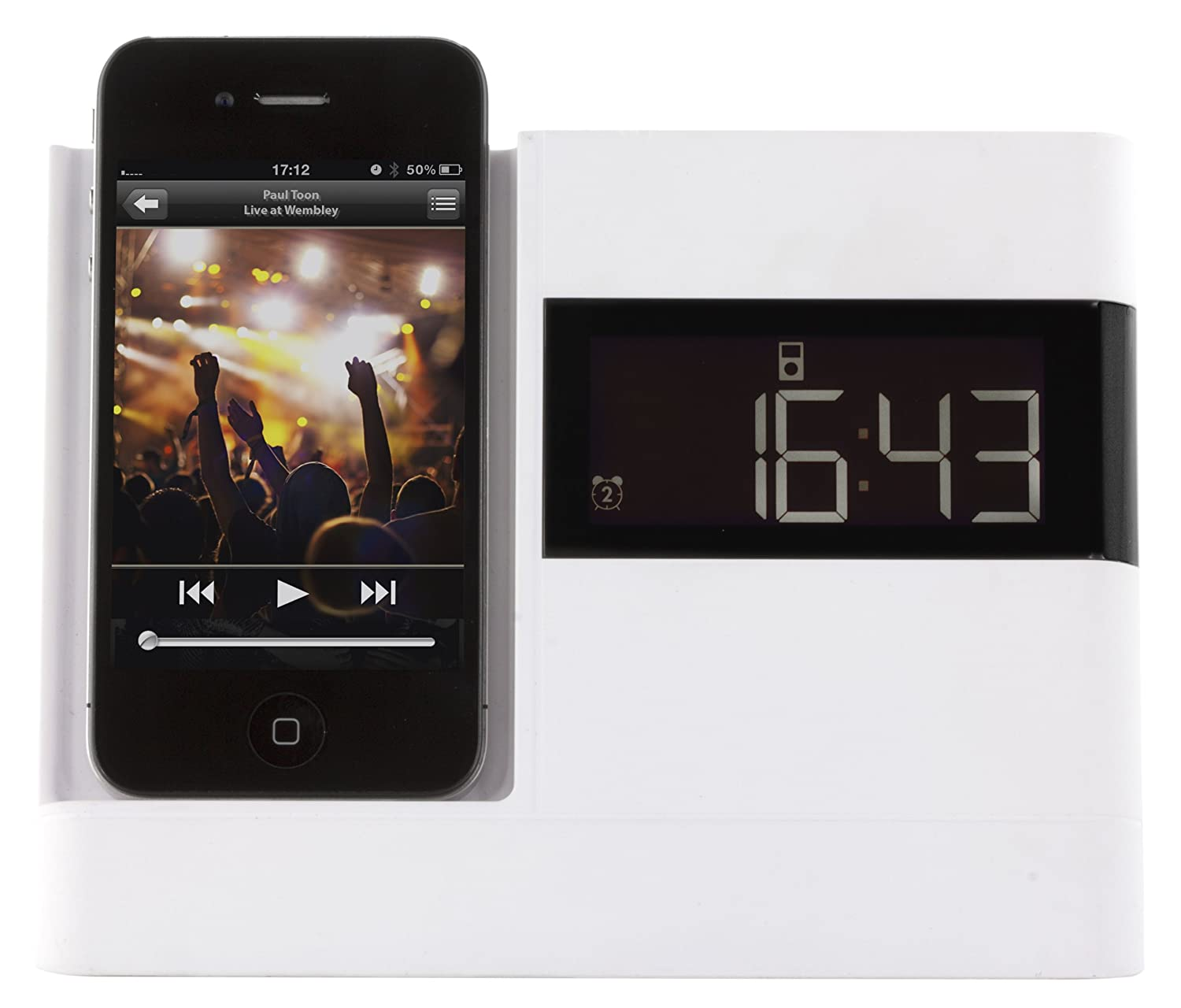 iPod Nano 5th Generation and iPod Touch 4th Generation KitSound XDOCK Clock Radio Dock for 30-Pin Connector iPod and iPhone 4S//4//3GS//3G White