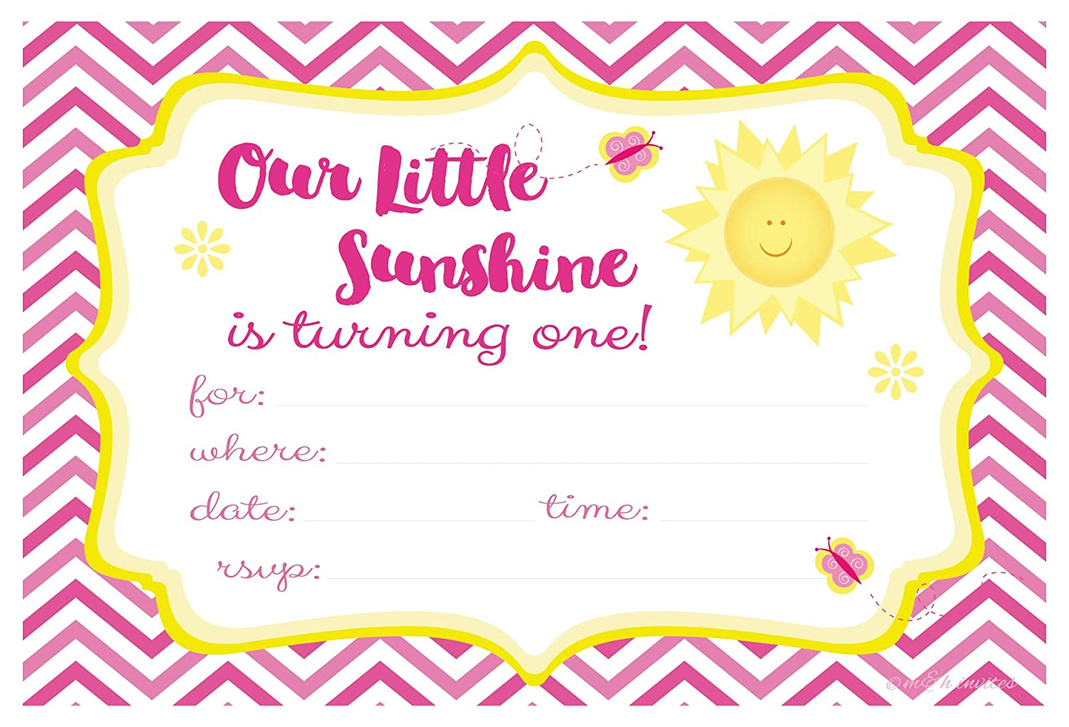 Our Little Sunshine First Birthday Party Invitations Fill In Style 20 Count With Envelopes