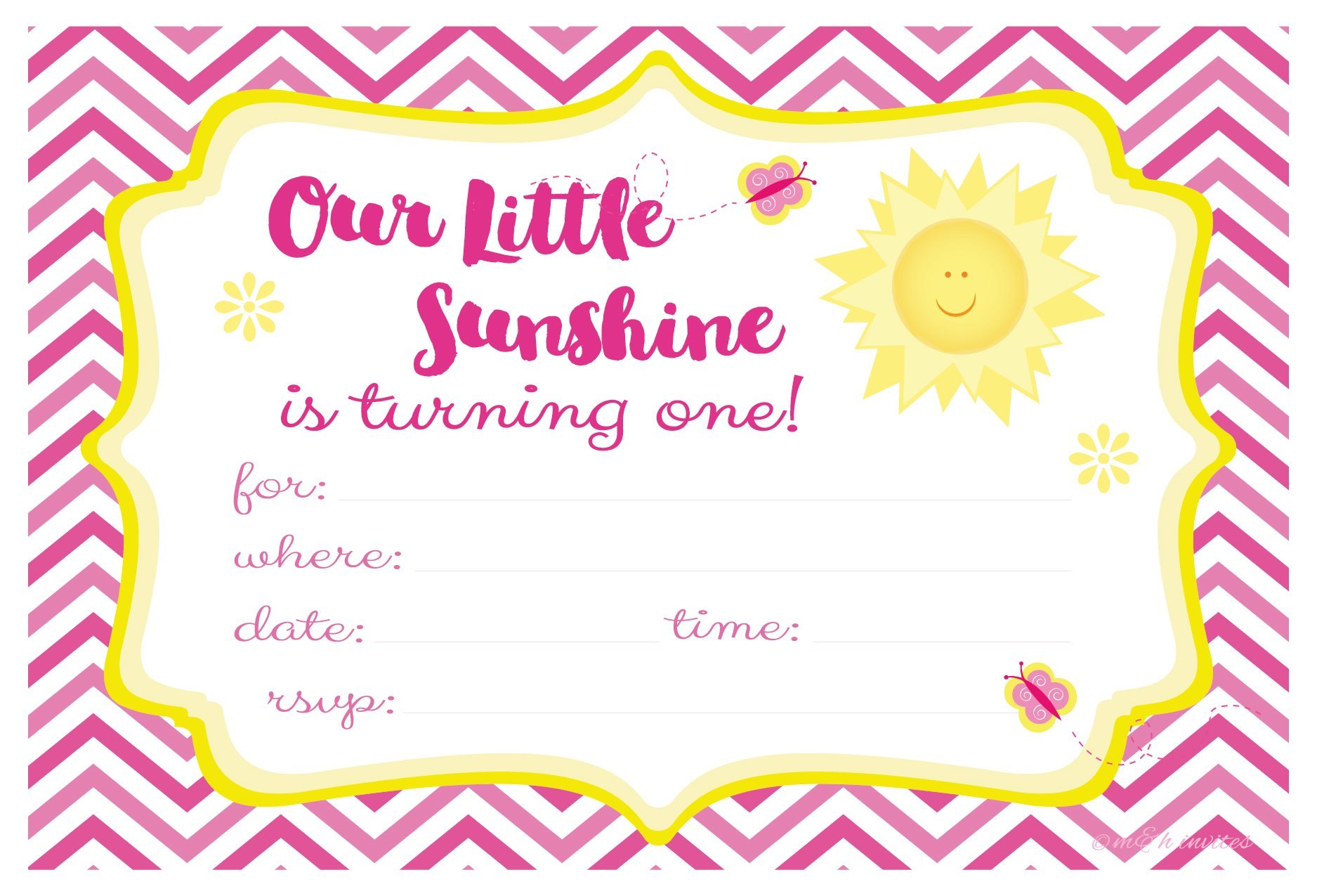 Our Little Sunshine First Birthday Party Invitations - Fill In Style (20 Count) With Envelopes