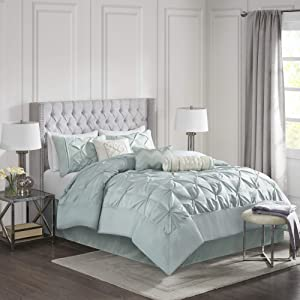 Madison Park Laurel King Size Bed Comforter Set Bed In A Bag - Seafoam , Wrinkle Tufted Pleated – 7 Pieces Bedding Sets – Faux Silk Bedroom Comforters