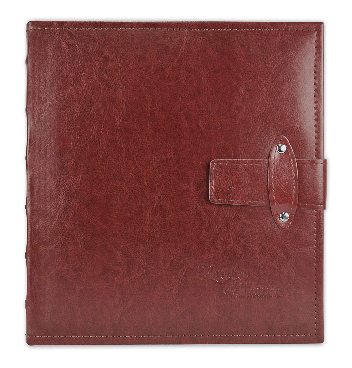Golden State Art, Maroon Photo Album, Faux Leather Cover, with Strap Closure, 200 Pocket for 5x7 Pictures, 2 Per Page (6223)