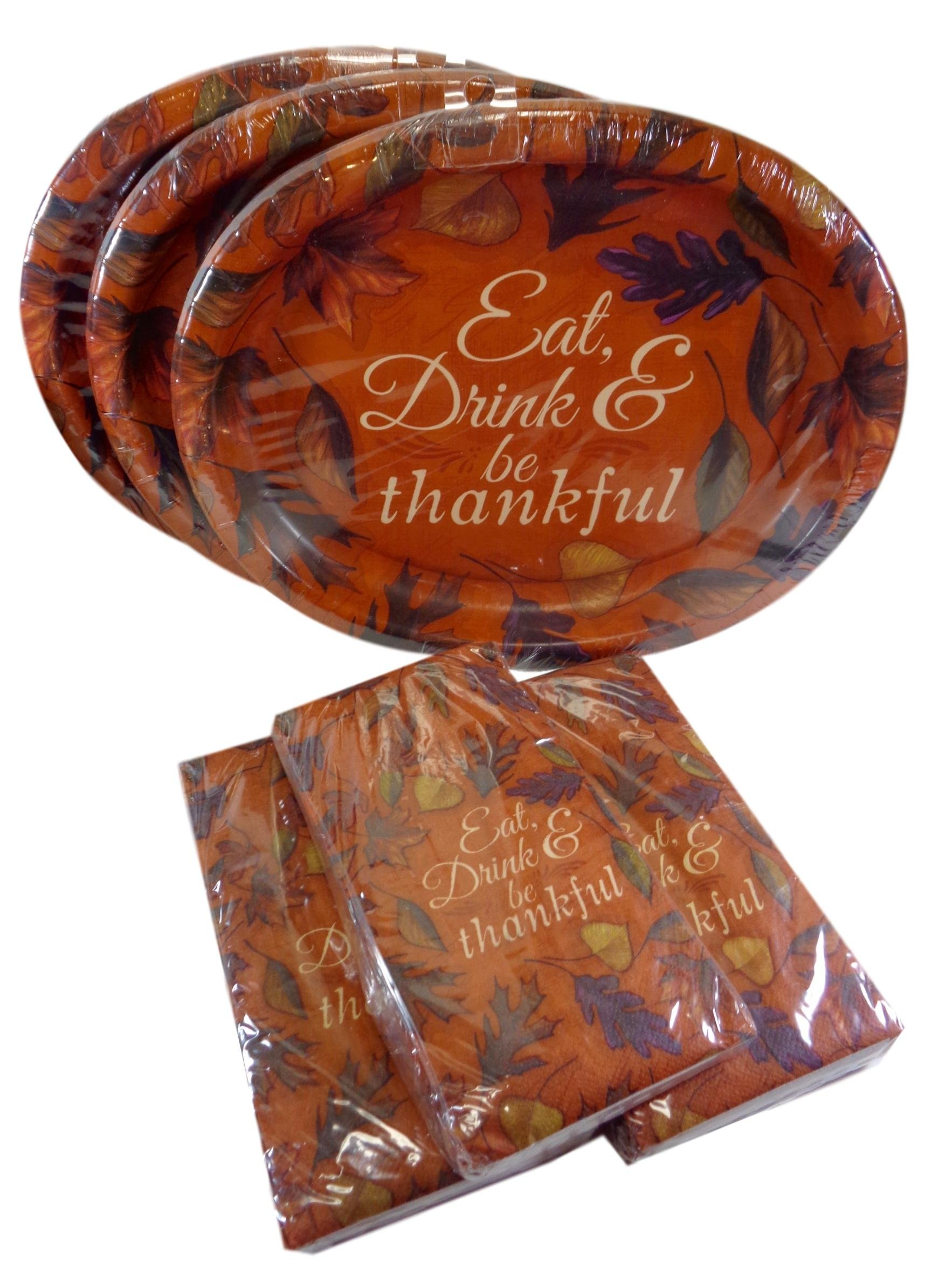 Bulk Buy: Thanksgiving Autumn Leaves ''Eat, Drink & Be Thankful'' Large Paper Dinner Plates & Napkins Party Pack