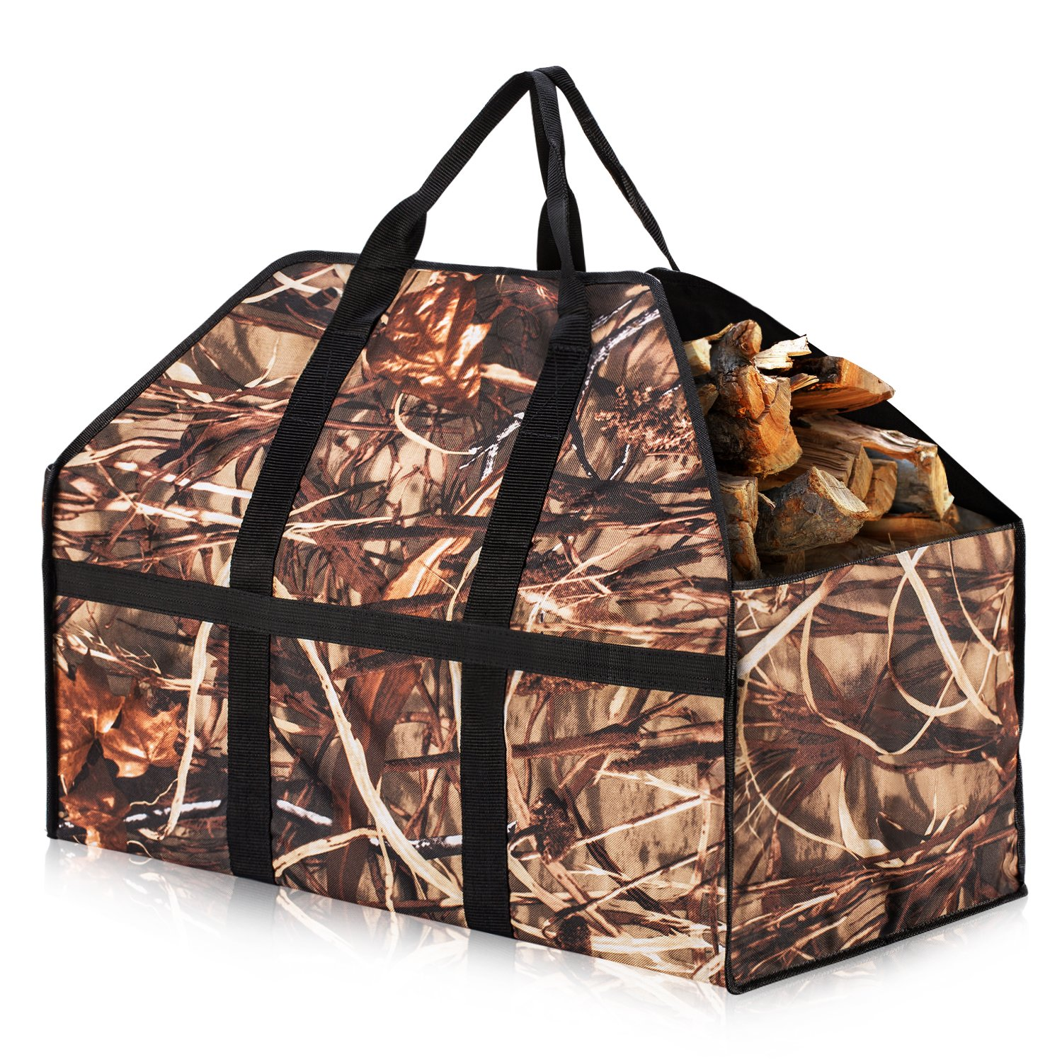 Herron Log Carrier, Large Capacity- Extra Strong and Durable Fabric -Firewood Carrier Strong Handle &Avoid Wood Debris on the Floor Firewood Bag