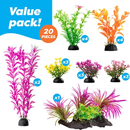 Amazon Com Aquarium Decorations 20 Or 23 Pack Lifelike Plastic Decor Fish Tank Plants Small To Large 20 Pack Kitchen Dining