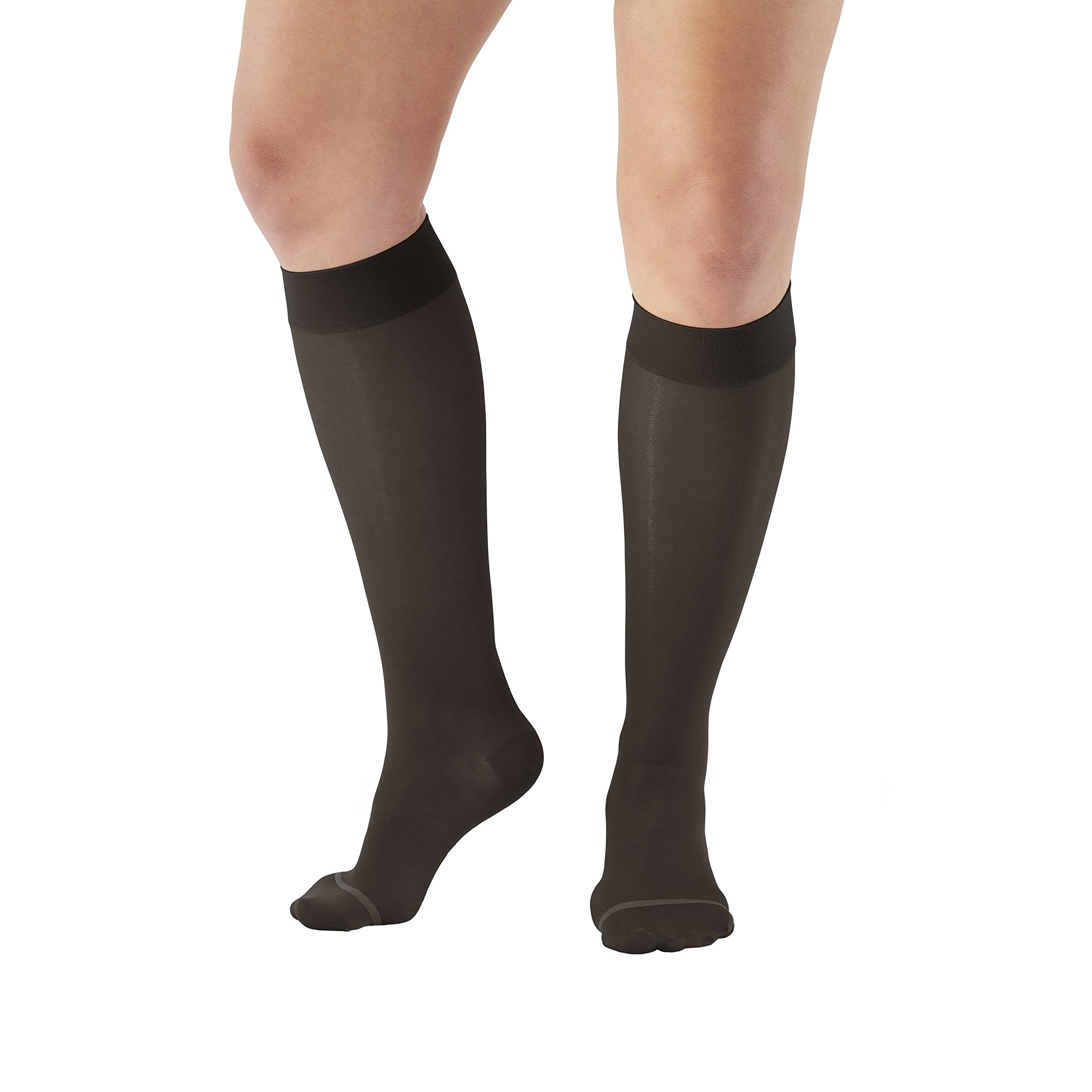 Ames Walker Women's AW Style 18/43 Sheer Support Closed Toe Compression Knee High Stockings - 20-30 mmHg Black Small 18-S-BLACK Nylon/Spandex