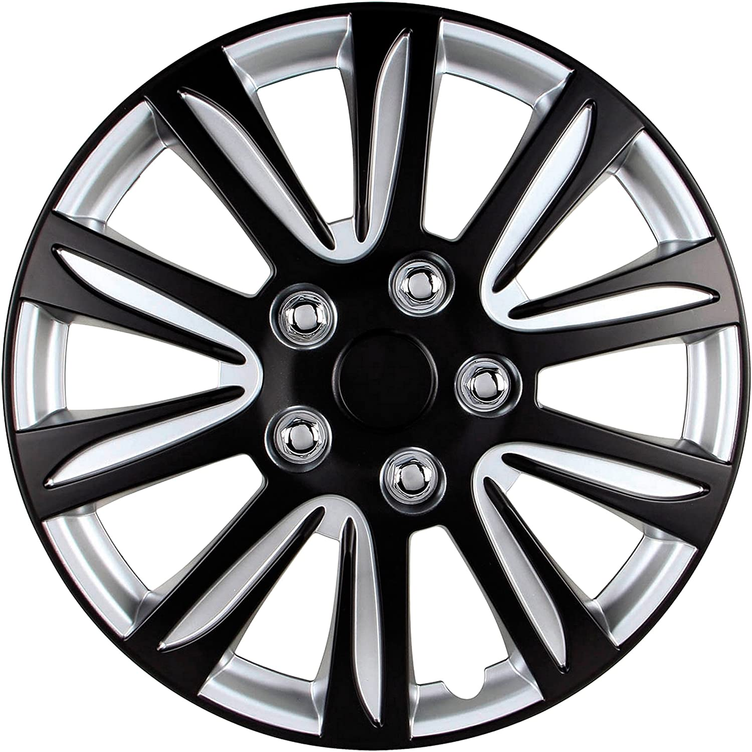 Marina Bay Set of 4 15 inch Hubcaps Easy to Install Universal Fitment 15 Black and Silver