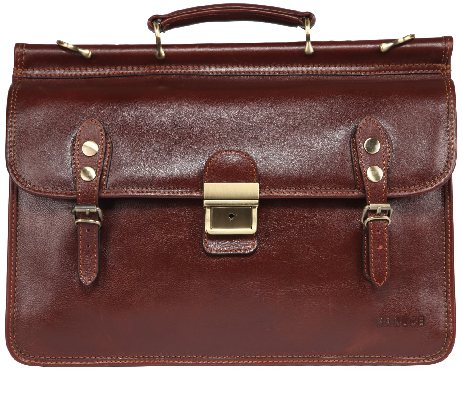 Banuce Mens Italian Leather Flapover Briefcase Tote 2way Business Laptop Messenger Bag Attache Case by Banuce (Image #3)