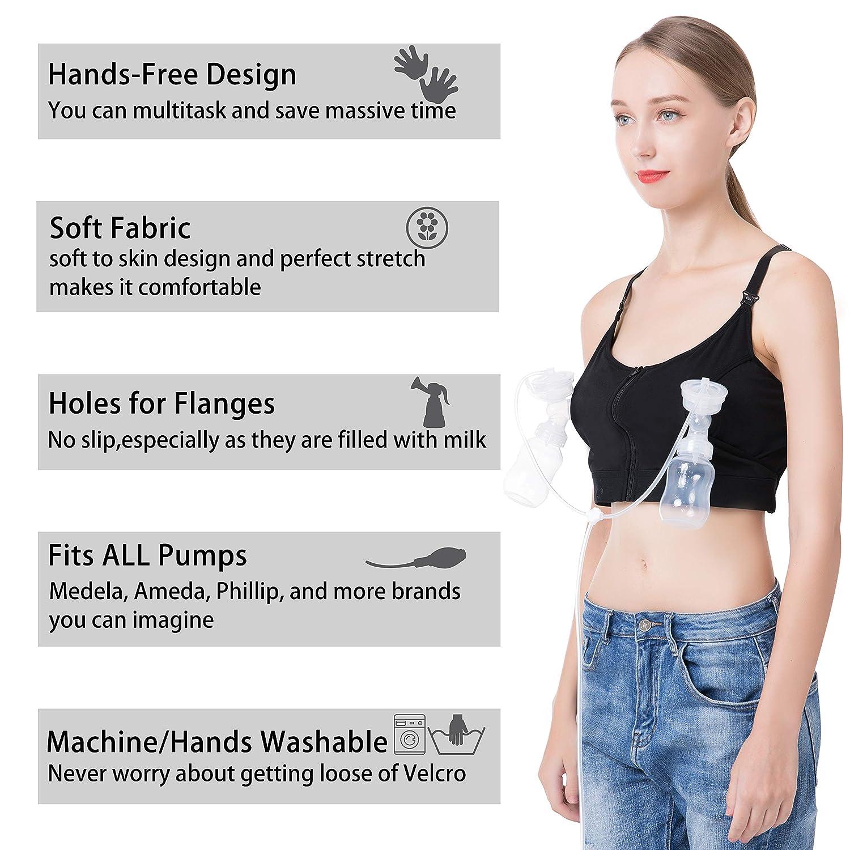 bd6723590ff0f Hands Free Pumping Bra, Breastfeeding Bra, Wire-Free, Plus Size, with