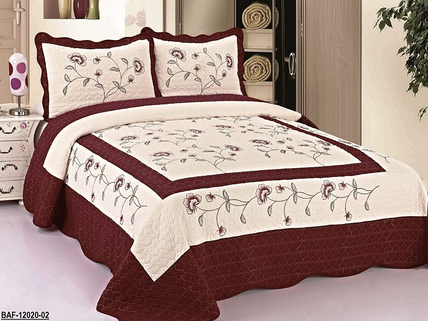 Amazon.com: 3pc Beige / Burgundy High Quality Fully Quilted Embroidery Bedspread  Bed Coverlets Cover Set , Queen King: Home U0026 Kitchen