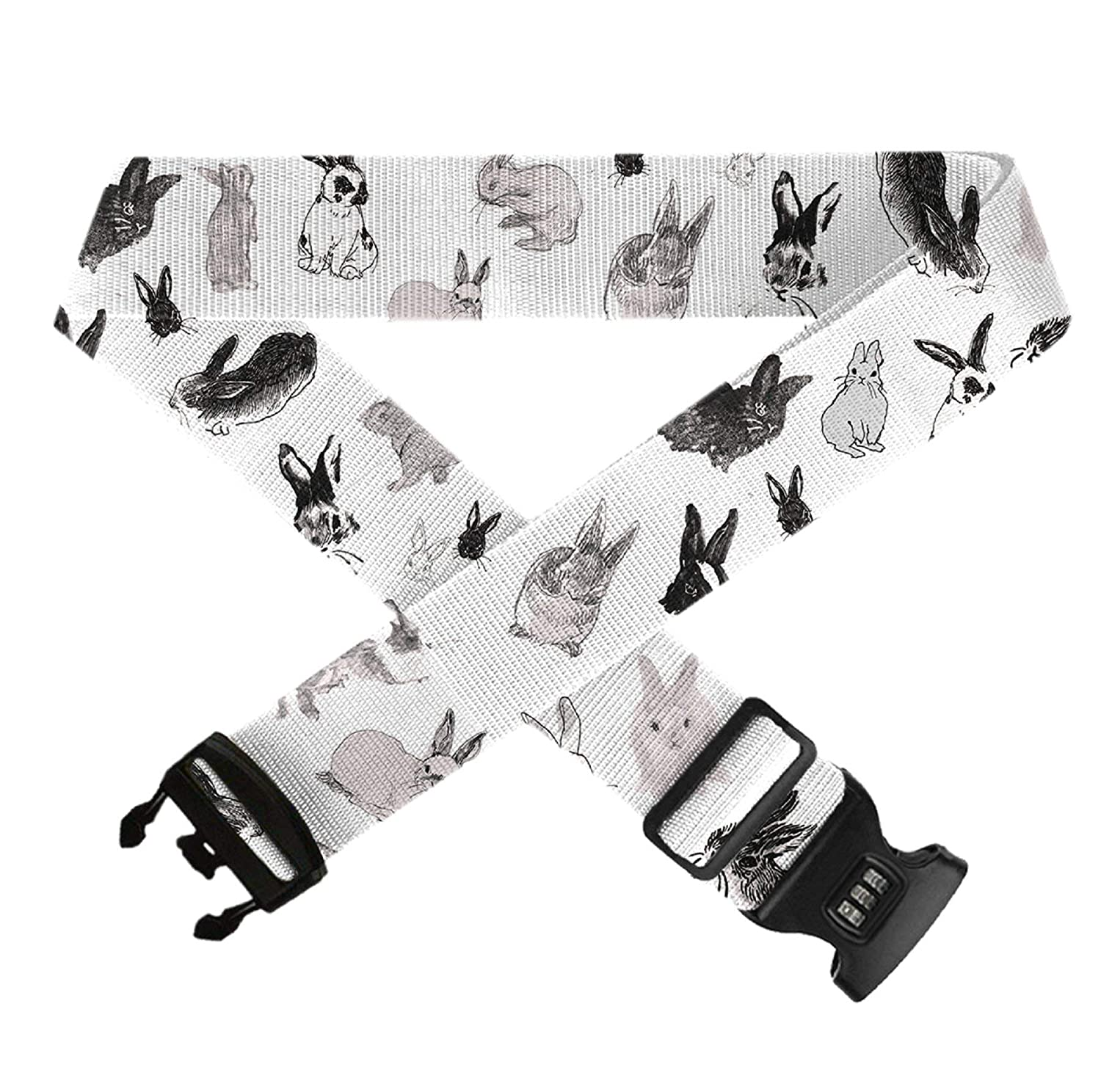 1 Pack Funny Rabbit,Heavy Duty Bag Straps 3 Dial Approved Lock for Extra Luggage//Travel//Business GLORY ART Suitcase Belt Straps