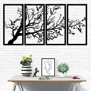 "Metal Wall Art, Tree of Life 4 Panels, Metal Tree Wall Art, Tree Sign, Metal Wall Decor, Interior Decoration, Housewarming Gift, 4 Pieces Wall Hangings (47""W x 24""H / 120x60 cm)"