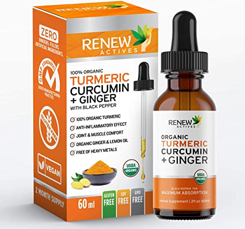 Renew Actives Turmeric Liquid Extract with Ginger Lemon Oil – 100 Organic Pure Vegan Supplement, GMO Free, Best Absorption Potency for Joint Pain, Inflammation Antioxidant Support