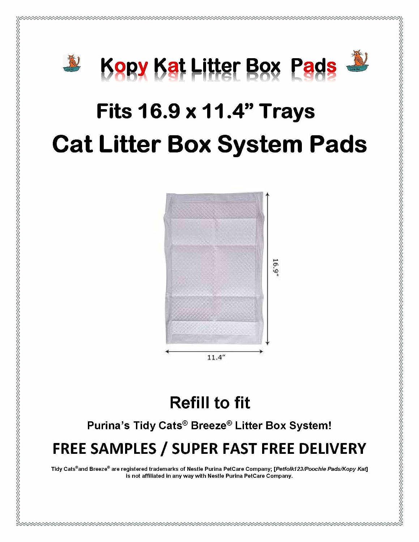 Kopy Kat 40 Cat Litter Box Pads 16.9 x 11.4 Refill Pads