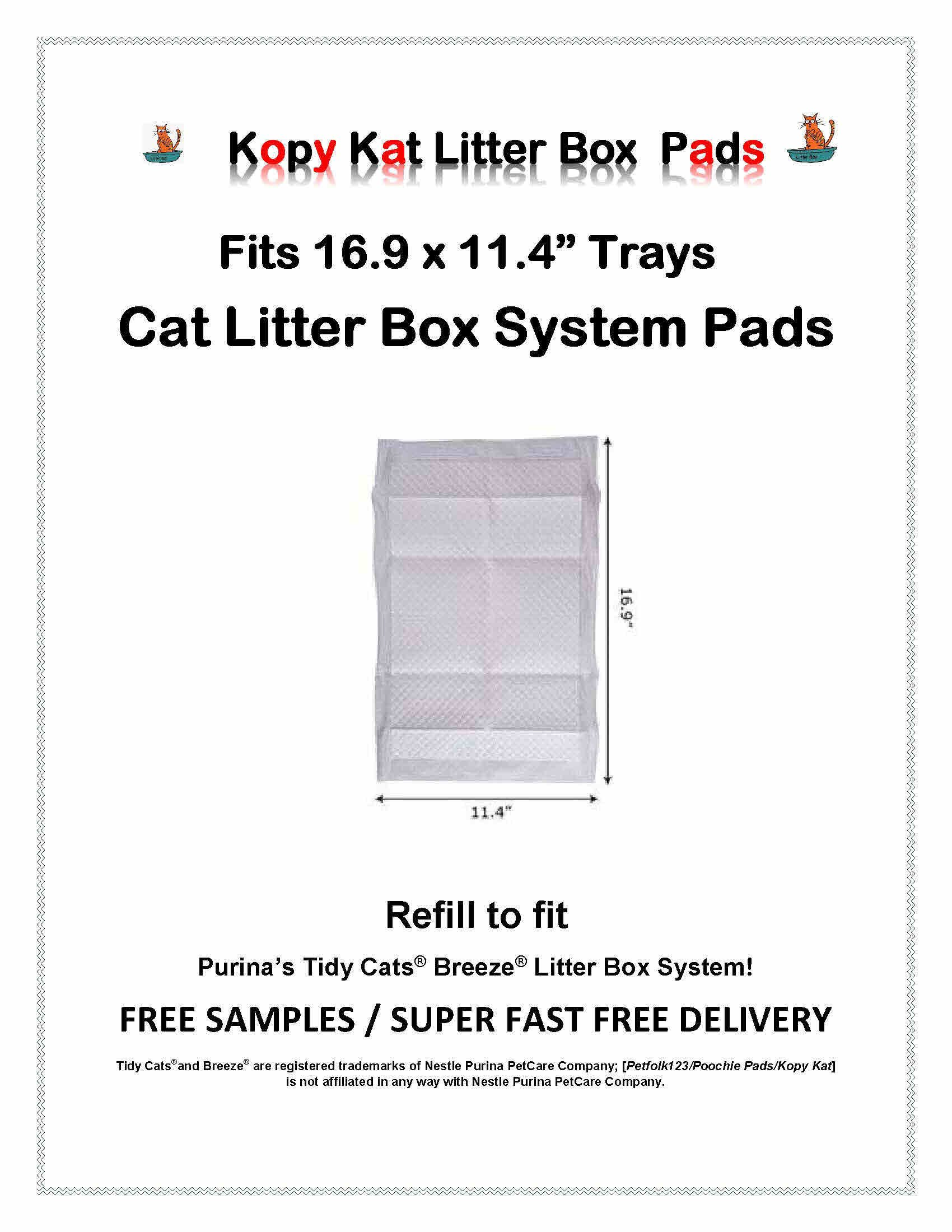 Kopy Kat 16.9 x 11.4 Cat Litter Box Pads Refill Pads-Same Quality Less Expensive 120 pads by Kopy Kat