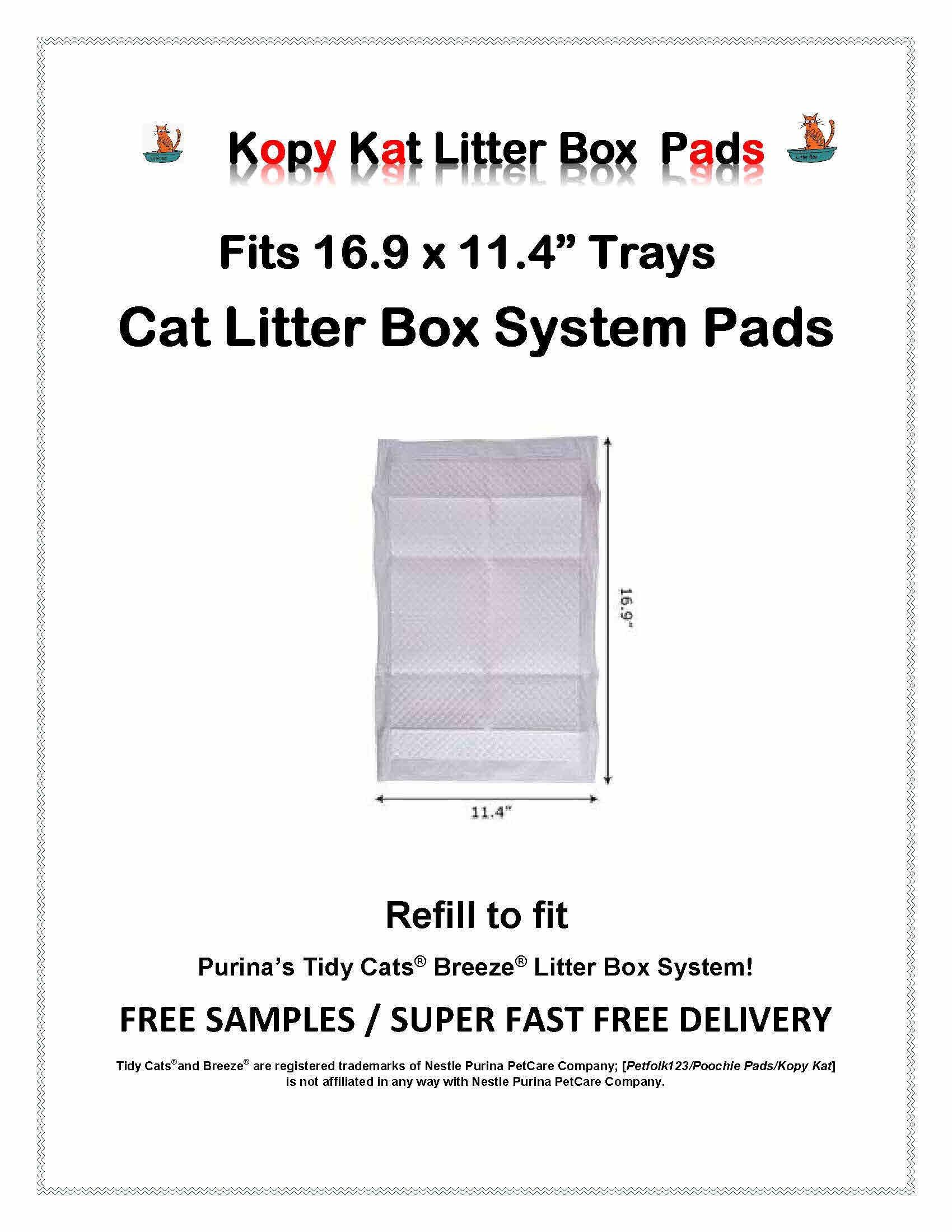 Kopy Kat 16.9 x 11.4 Cat Litter Box Pads Refill Pads-Same Quality Less Expensive 120 pads