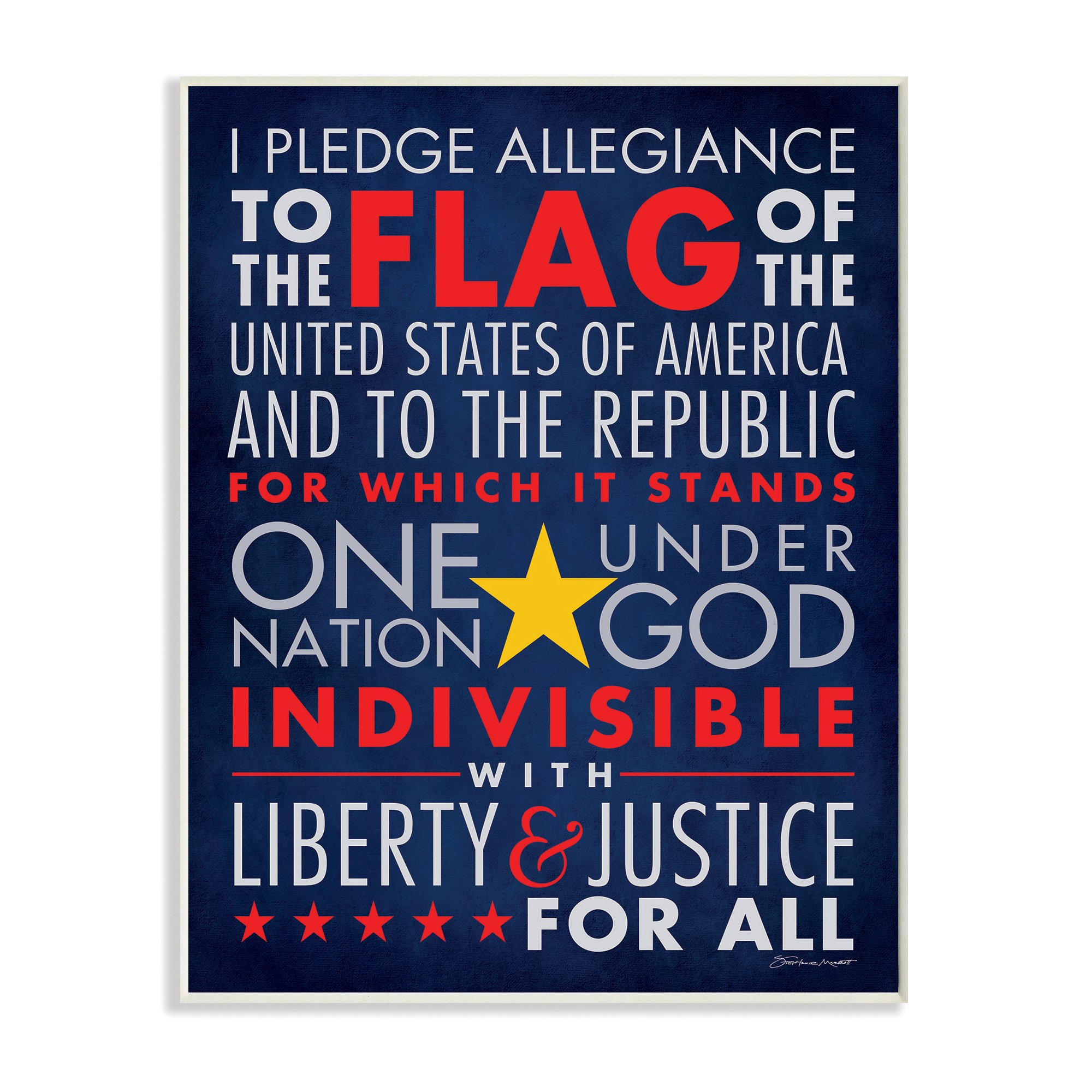 Stupell Home Décor The Pledge Of Allegiance Textual Art Wall Plaque, 11 x 0.5 x 15, Proudly Made in USA by The Kids Room by Stupell (Image #1)