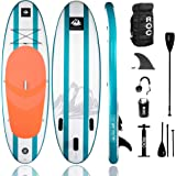 Roc Inflatable Stand Up Paddle Board W Free Premium SUP Accessories & Backpack, Non-Slip Deck. Bonus Waterproof Bag, Leash, Paddle and Hand Pump
