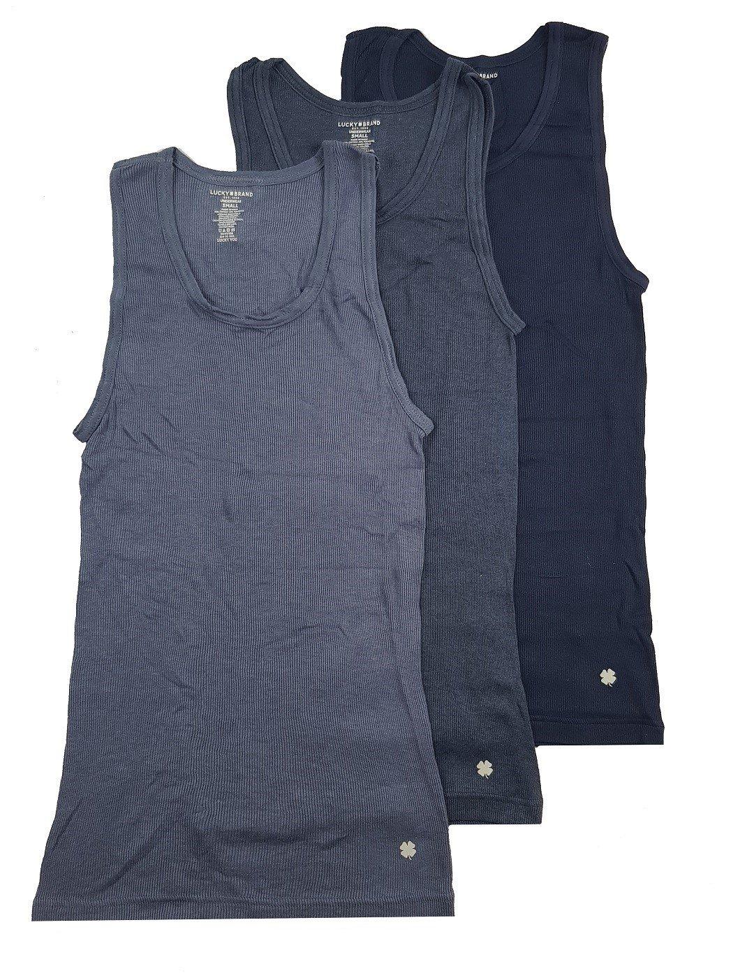 Lucky Brand Men's Ribbed Tanks 3-Pack (Navy/Navy Blue/Blue, M)