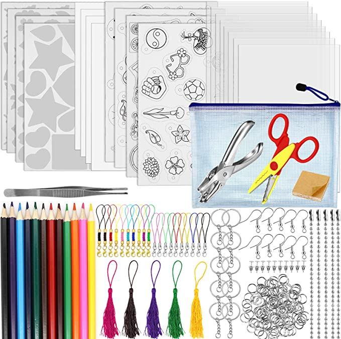 4 Tracing Sheets Hole Punch and Keychain Accessories for DIY Ornaments or Creative Craft Auihiay 153 Pieces Clear Shrink Plastic Kit Include 20 Clear Shrinky Art Paper