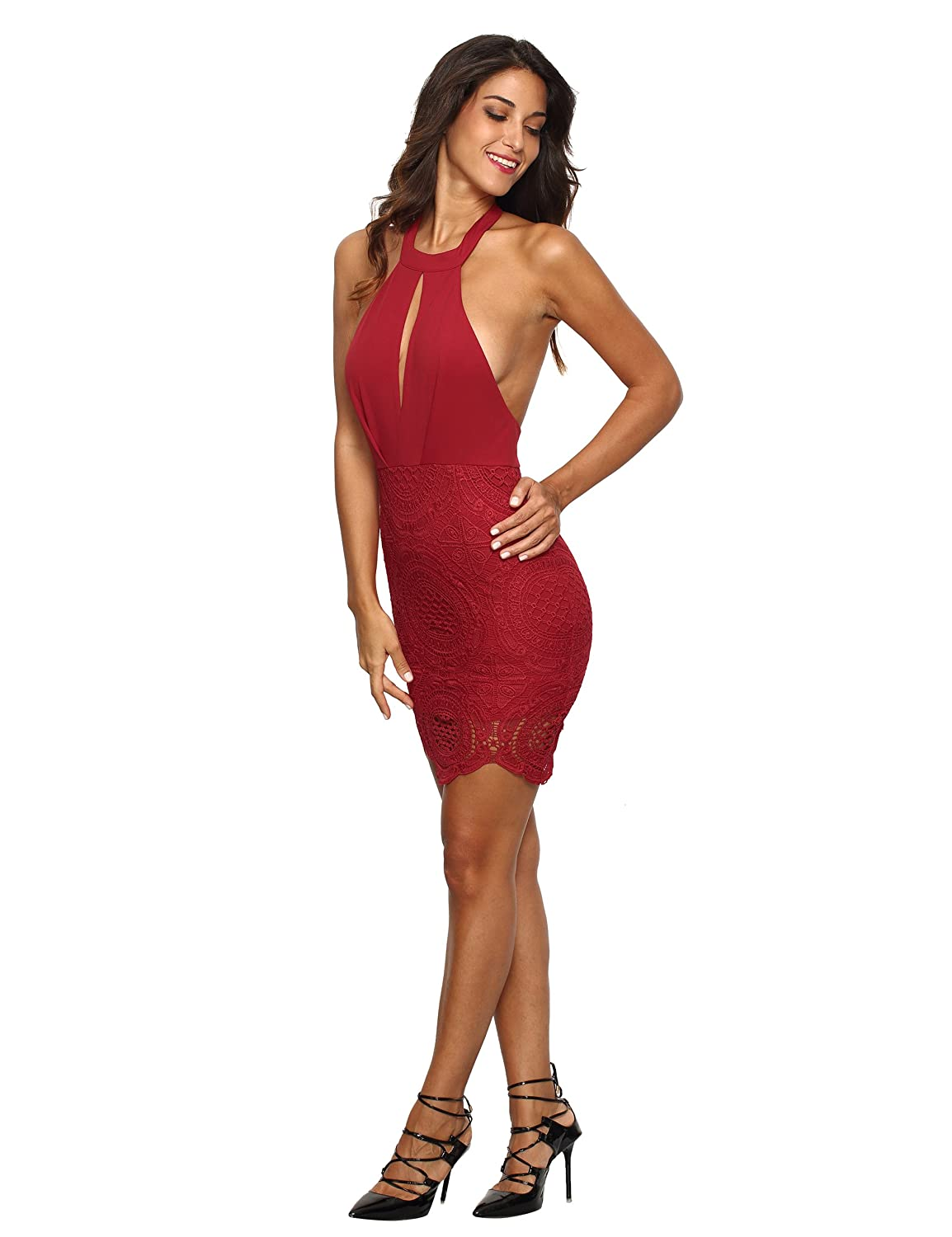 MakeMeChic Women's Sexy Halter Backless Lace Dress Cocktail Party Bodycon Dress