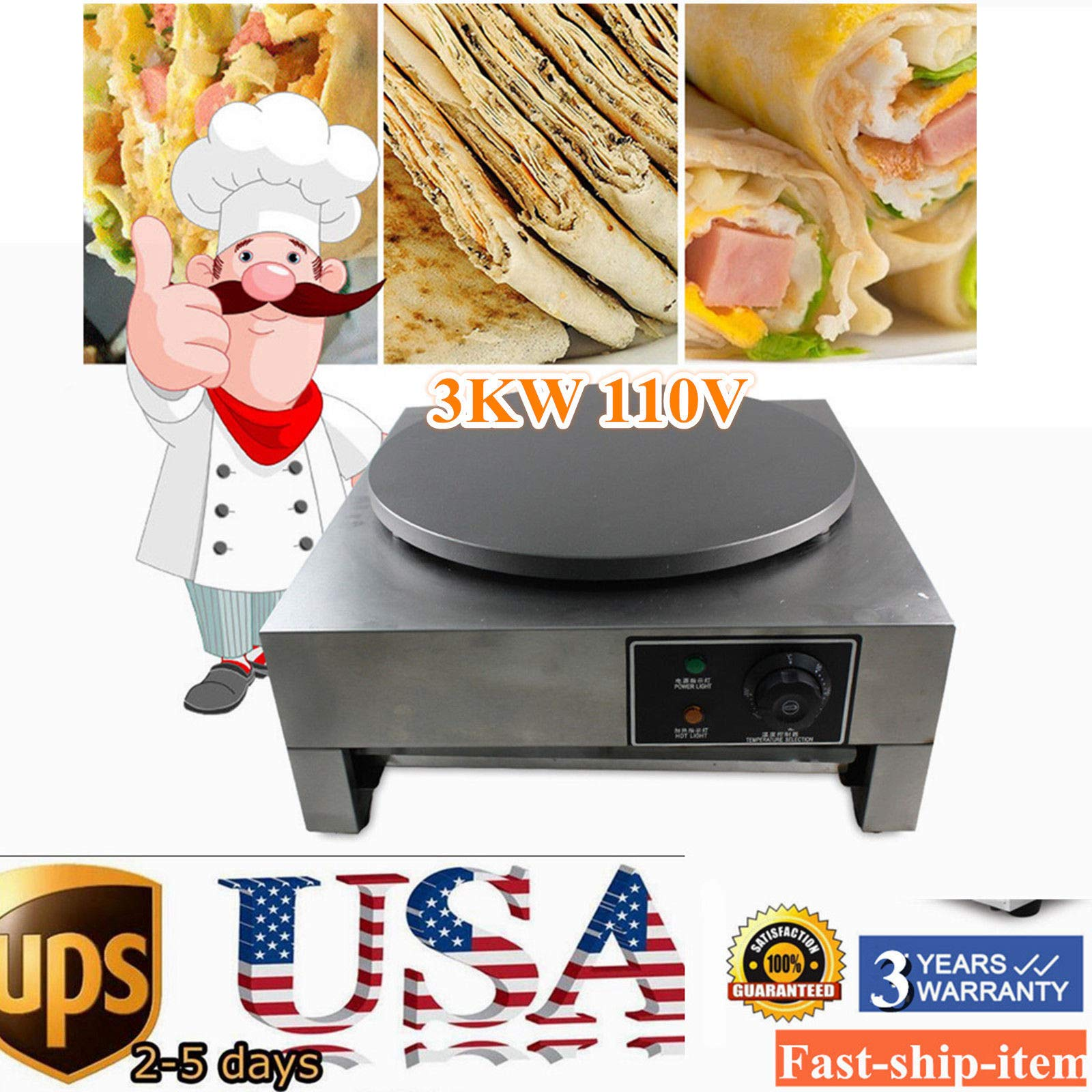 Crepe Maker Machine Pancake Griddle, 3KW 16'' Commercial Nonstick Electric Crepe Maker Pancake Machine Kitchen (US Stock) by GDAE10 (Image #3)