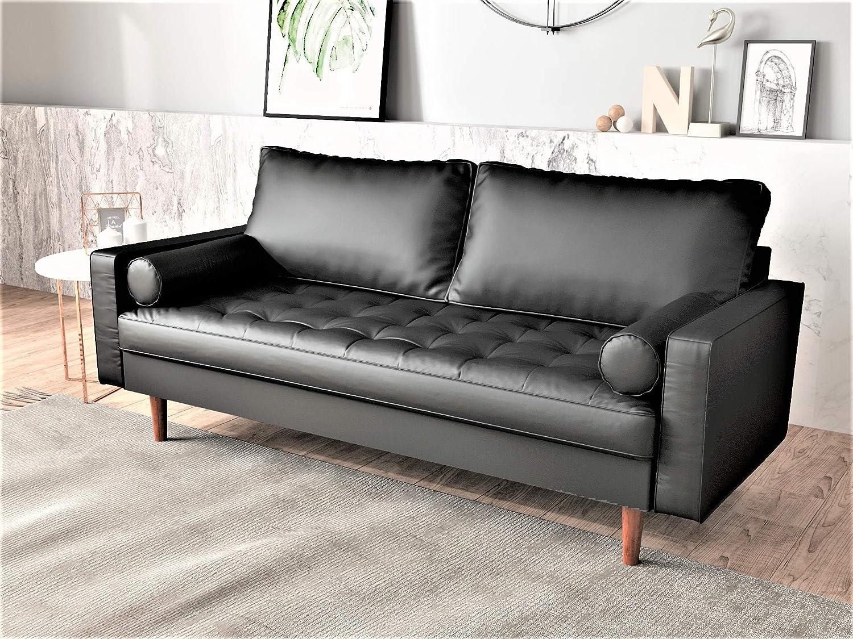 Loveseat Living Room Furniture Couch Sofa MId Century Modern Black
