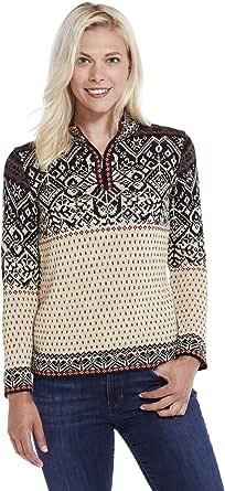 Invisible World Women's 100% Alpaca Wool Sweater Half-Zip Norwegian Pullover
