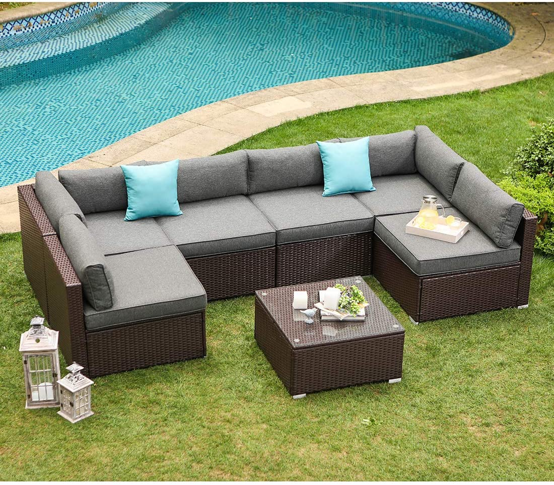 COSIEST 7-Piece Outdoor Patio Furniture Chocolate Brown Wicker Executive Sectional Sofa w Dark Grey Thick Cushions, Glass-Top Coffee Table, 2 Turquoise Pillows Incl. Waterproof Cover, Clips