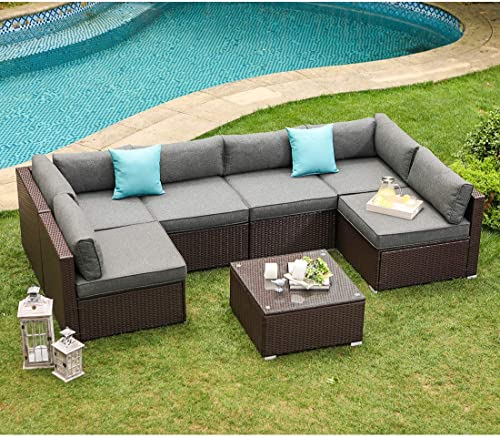 COSIEST 7-Piece Outdoor Patio Furniture Chocolate Brown Wicker Executive Sectional Sofa w Dark Grey Thick Cushion